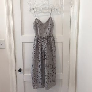 Gray lace midi dress
